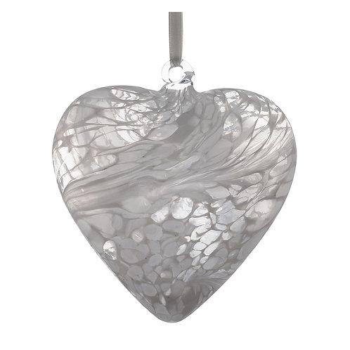 White Sienna Glass Friendship Glass Heart 12 cm with Gift Box