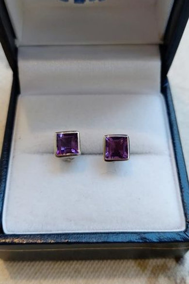 Amethyst square cut bezel set stud earrings in Sterling Silver