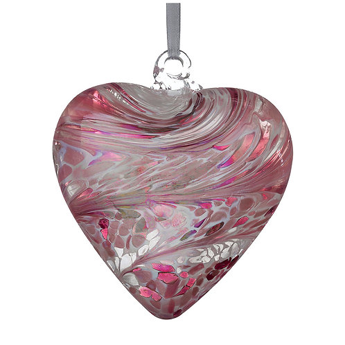 Pink Glass Friendship Glass Heart 8 cm with Gift Box