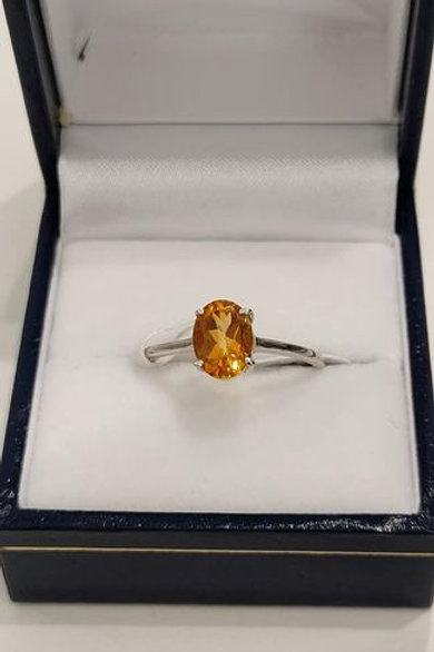 Citrine Oval Cut Solitaire set in Sterling Silver