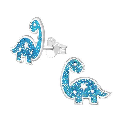 Sterling Silver Dinosaur Glitter stud earrings