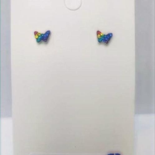Sterling Silver Butterfly Rainbow Studs earrings 6 x 5 mm