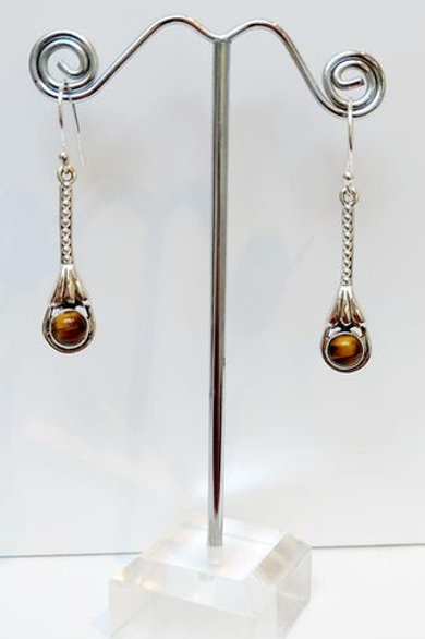 Tigers Eye Sterling Silver Drop Earrings