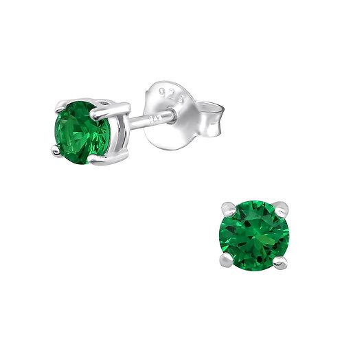 Sterling Silver Crystal Round Stud earrings 4 x 4 mm