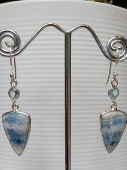 Blue Scheelite & Blue Topaz Sterling Silver Drop Earrings