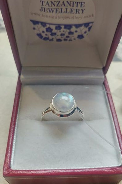 Moonstone Round Cabochon Cut Sterling Silver ring