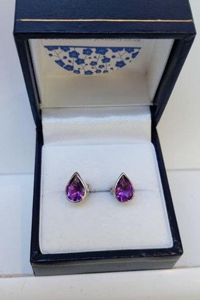 Amethyst pear cut bezel set stud earrings in Sterling Silver