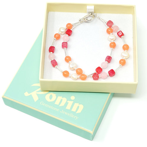 "Ronin Gemstone 7.5"" Bracelet Sorbet collection with Pearls, Rose Quartz"