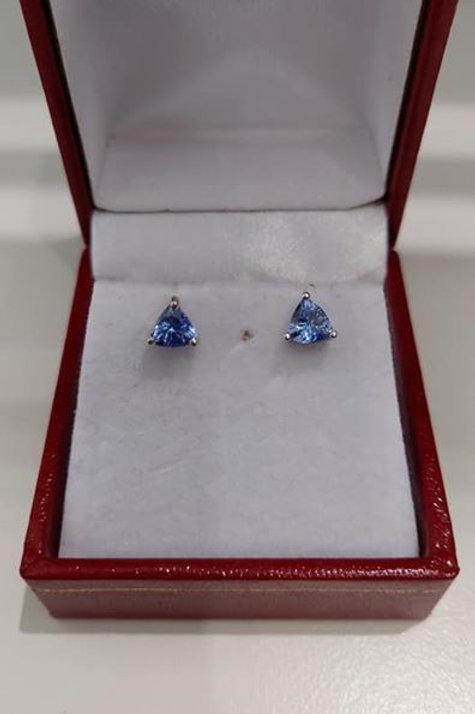 1 carat Tanzanite Trillion Cut 9k White Gold Earrings