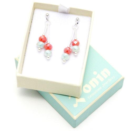 Ronin Drop Earrings Fizz Faceted Crystal Beads