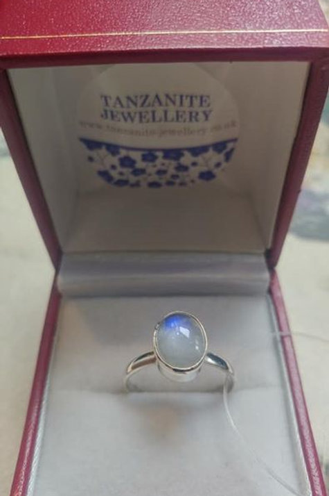 Moonstone Oval Cabochon Cut Sterling Silver ring