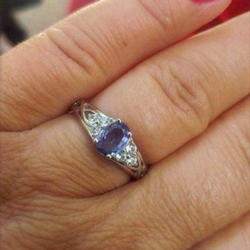 Tanzanite and Zircon Sterling Silver ring
