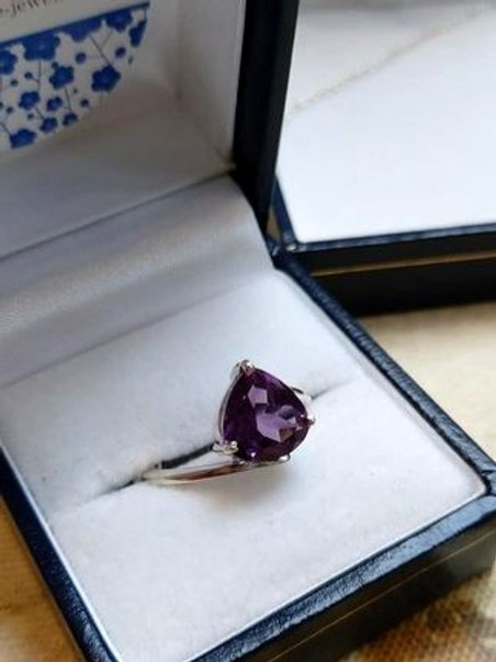 Amethyst Pear cut Solitaire Sterling Silver ring