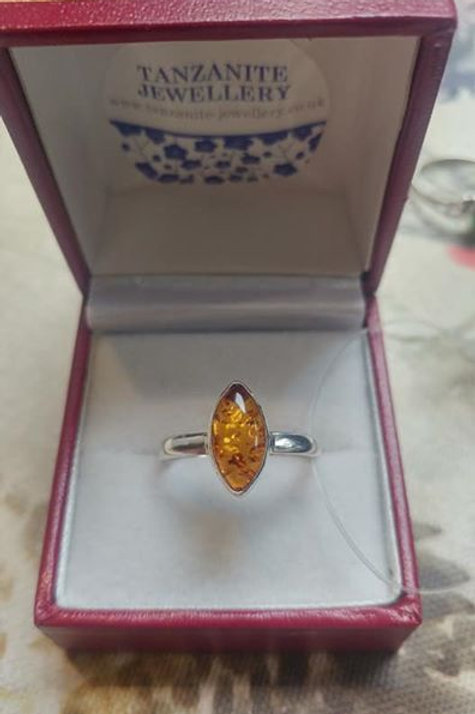 Amber Marquise Cut Sterling Silver ring