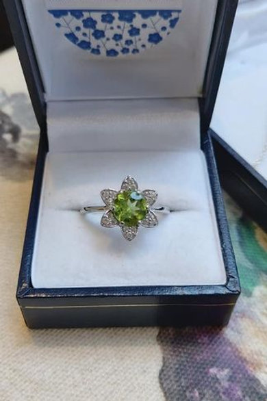 Peridot and White Zircon Floral inspired Sterling Silver ring