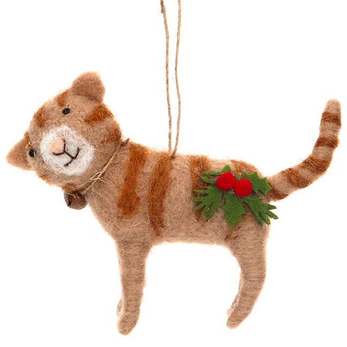 Gisela Graham Wool Mix Cat with Holly & Bell Hanging Decoration