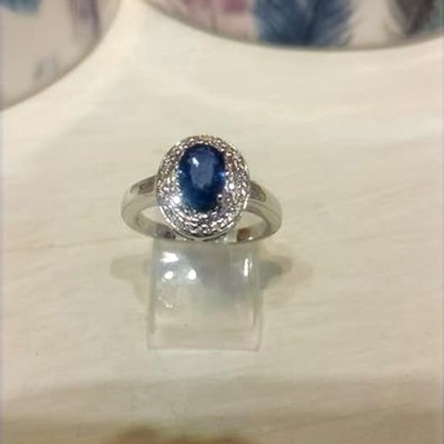 Sapphire and Diamond Oval ring set in Sterling Silver