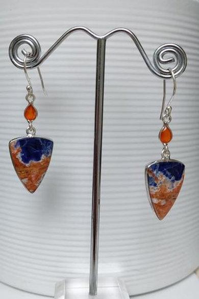 Orange Sodalite & Carnelian Sterling Silver Drop Earrings