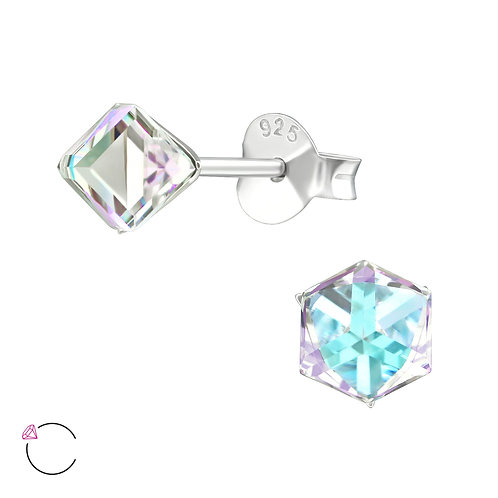 SWAROVSKI® Sterling Silver Cube earrings 5 x 5 mm