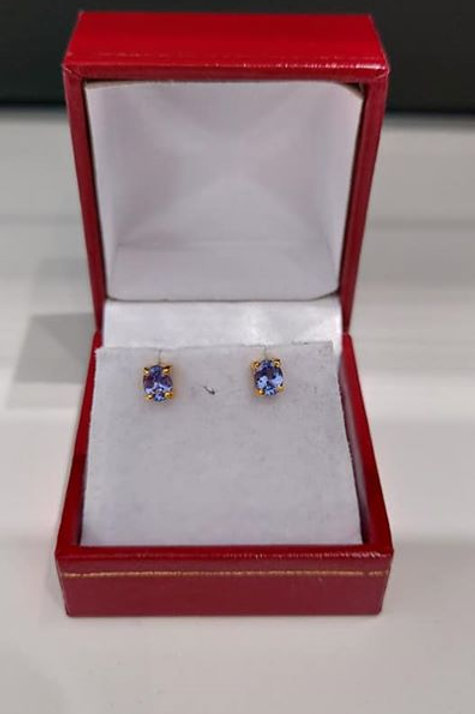 Tanzanite Sterling Silver Gold Overlay earrings