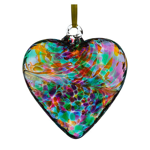 Multi Colour Turquoise Sienna Glass 12cm Friendship Heart with Gift Box