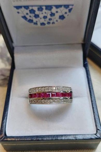 Ruby & Zircon Eternity Ring set in Sterling Silver