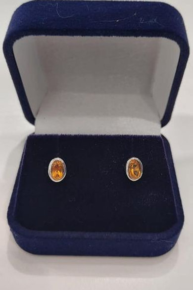 Citrine bezel set stud earrings in Sterling Silver