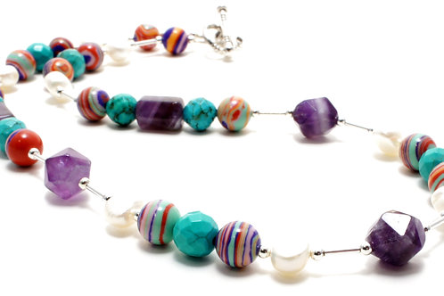 """Ronin Gemstone 18"""" Necklace Krista Amethyst and Turquoise close up"""