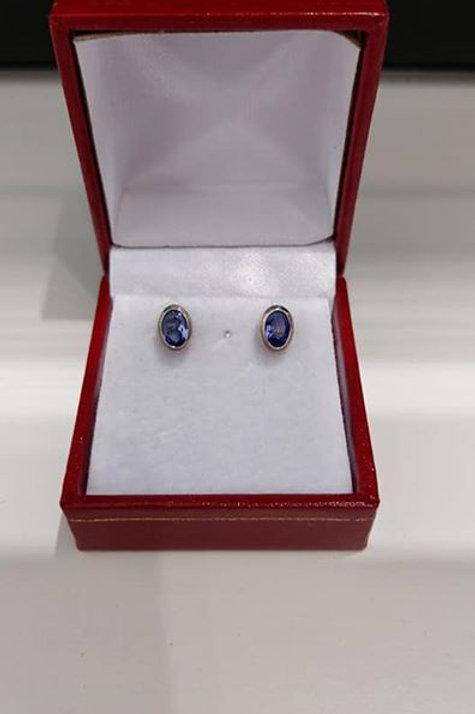 Tanzanite 1.00 carat Bezel Set Sterling Silver Stud earrings