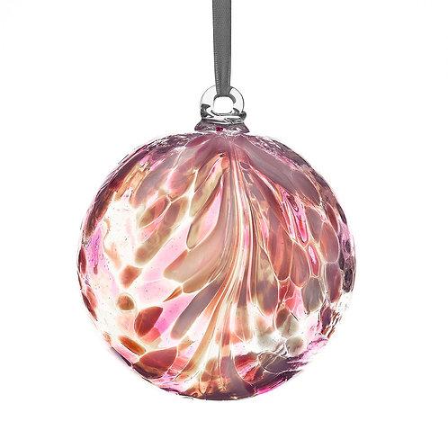 Friendship Ball 10 cm Feather Design Flamingo Glass
