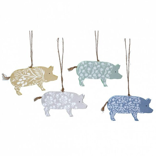 Gisela Graham Wooden Decorative Hanging Pigs
