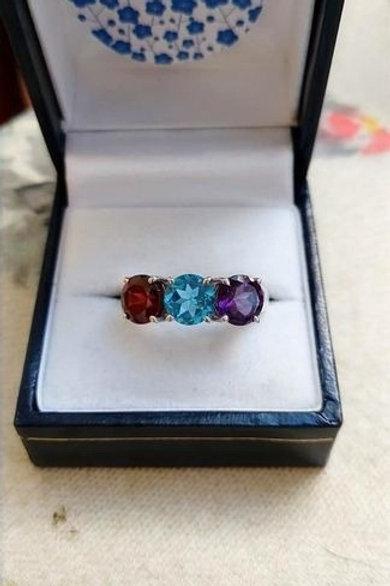 Blue Topaz, Garnet & Amethyst Trilogy Ring in Sterling Silver