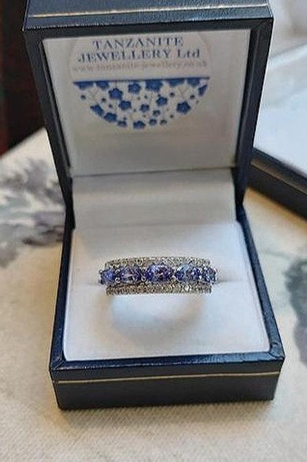 Tanzanite & White Zircon Eternity Sterling Silver ring
