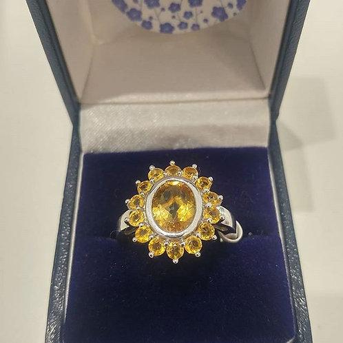 Citrine 3.50 carat Citrine ring set in Sterling Silver