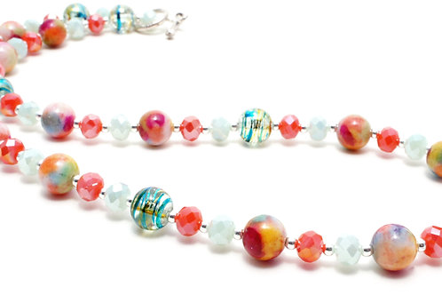 """Ronin Gemstone 18"""" Necklace Fizz Dyed Jade & Faceted Beads close up"""