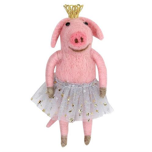 "Gisela Graham ""Alan"" Wool Mix Pig Ballerina Decoration"