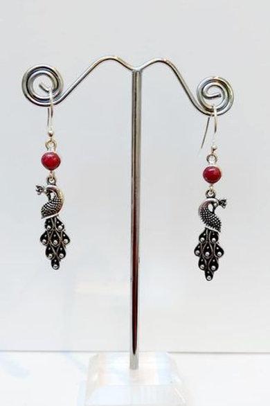 Pink Norwegian Thulite Sterling Silver Drop Earrings