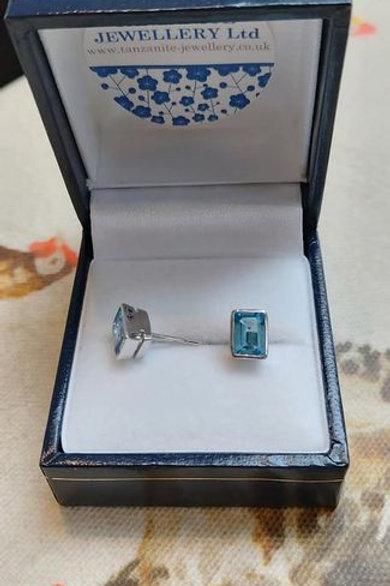 Blue Topaz Rectangle bezel set stud earrings in Sterling Silver