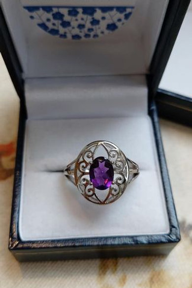 Amethyst Solitaire with decorative Sterling Silver halo ring