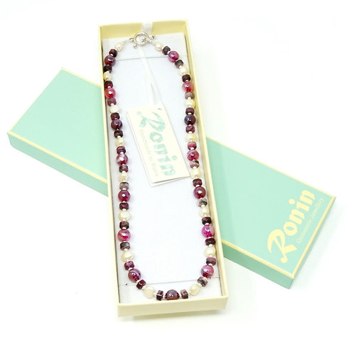 """Ronin Gemstone 18"""" Necklace Brecon Agate & Freshwater Pearls"""