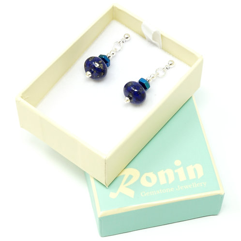 Ronin Gemstone Drop Earrings Skye with Lapis Lazuli & Haematite
