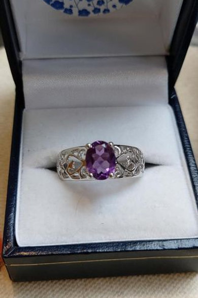 Amethyst Oval Cut ring with Filigree Shank in Sterling Silver