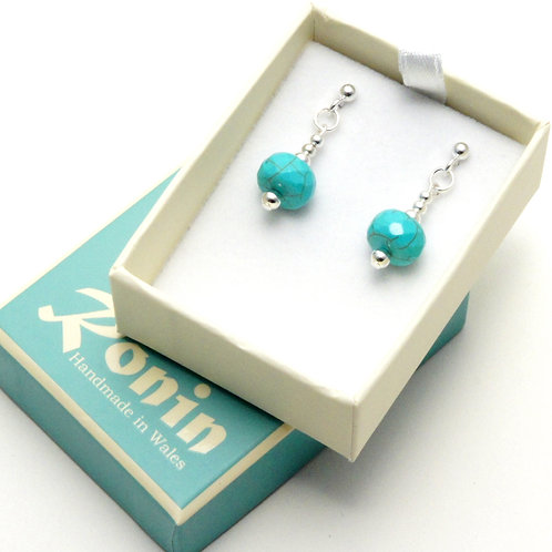 Ronin Gemstone Drop Earrings Faceted Turquoise