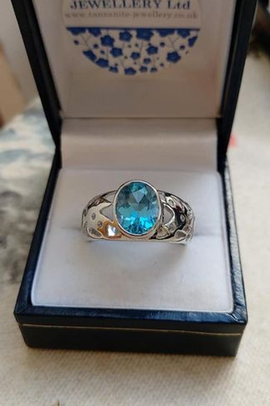 Blue Topaz Large Oval Solitaire Ring Set in Sterling Silver