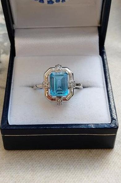 Blue Topaz & White Zircon Sterling Silver Ring
