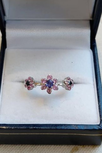 Pink & Blue Sapphires with Tanzanite in Sterling Silver