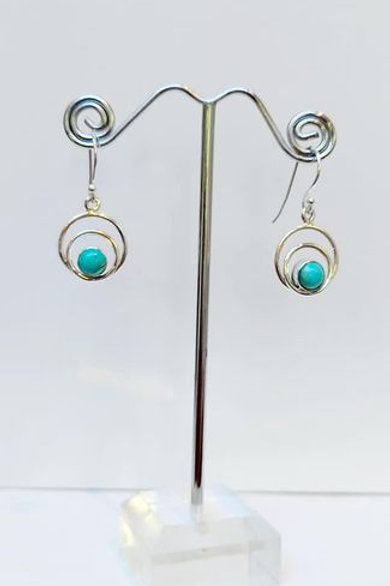 Mohave Turquoise Arizona Sterling Silver Drop Earrings