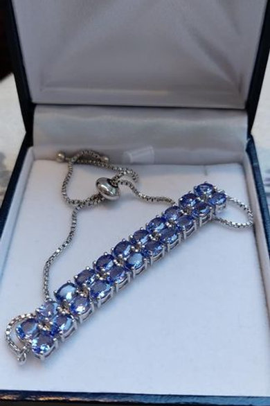 10 Carat Tanzanite Double Row Sterling Silver Bracelet