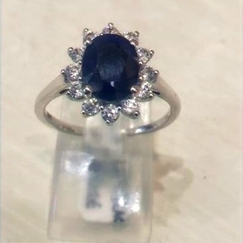 Sapphire and White Zircon Oval ring set in Sterling Silver