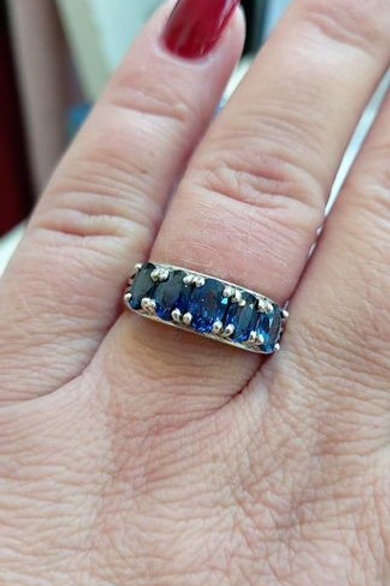 Blue Sapphire five stone ring set in Sterling Silver